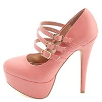 Triple Mary Jane Platform Pumps by Charlotte Russe - Coral