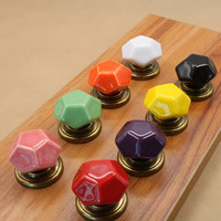 Colorful Diamond Shape Door Knob Furnitures Drawer Home Kitchen Door Pull Handle Cabinet Cupboard Knobs