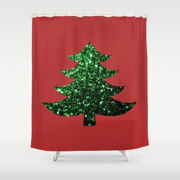 Christmas tree green sparkles Shower Curtain by PLdesign