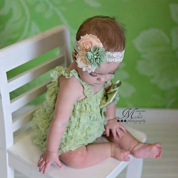 Green Romper, Satin Bow Headband, Cake Smash Outfit Girl, Baby Girl 1st Birthday Outfit, Easter Outfit, Baby Romper,Toddler Romper, Romper