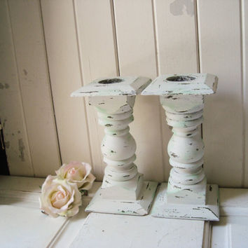 White and Mint Vintage Candle Stick Holders, Cottage White and Mint Wooden Candleholders, Shabby Chic Distressed Chunky Candlesticks