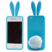 Lovely Rabbit Silicone Bunny Case For iPhone 5 with Furry Tail - Blue