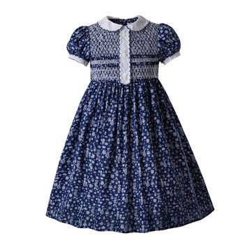 Pettigirl Vintage Flower Printed Doll Collar Smocked Baby Girl Clothes Bubble Romper Thanksgiving Smocked Dress G-DMGD006-B44