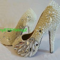 Luxury Pearl Peep Toe Shoes, Clean Diamond Pearl Flower ivory Bridal Shoes. Open Toe Wedding Shoes Heels Bridal Sparkly Heels Custom Shoes
