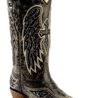 Corral Rhinestone Embellished Cross & Wing Embroidered Cowgirl Boots - Snip Toe - Sheplers