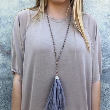 Tessi Tassel Necklace - Grey