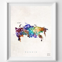 Russia Watercolor Map Print