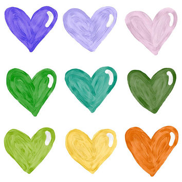 PAINTED HEART CLIPART, clip art, cute, doodles, clipart, doodle clipart, hand-drawn clipart, heart clipart, stickers, paint