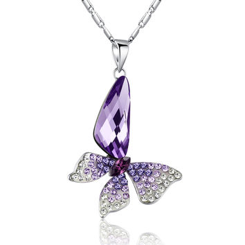 Butterfly Wing Drop Swarovski Elements Crystal Pendant Necklace - Purple