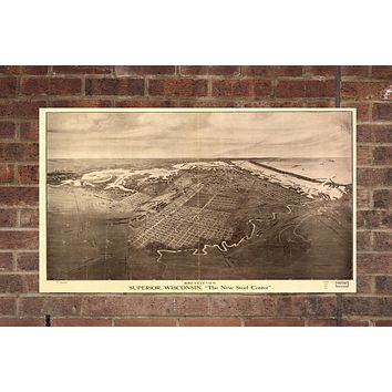 Vintage Superior Print, Aerial Superior Photo, Vintage Superior WI Pic, Old Superior Photo, Superior Wisconsin Poster, 1913