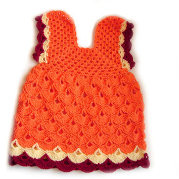 Baby girl orange dress, crochet baby tunic, orange infant dress, christening gown, 0 to 3 month, unique item
