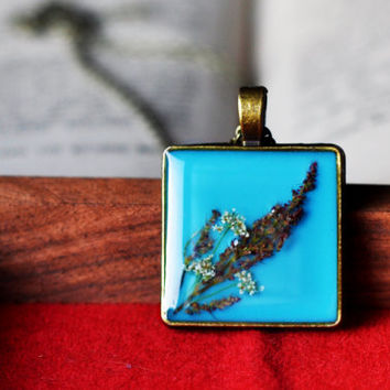 Square Turquoise Pendant With Real Pressed Flowers In Resin, Wild Flowers Resin Jewelry