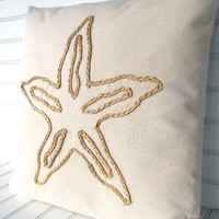 Starfish raffia pillow for your coastal living beach house