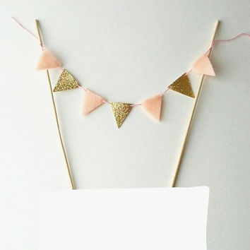 Fabric Cake Bunting - Felt Bunting Fabric Garland - Gold Cake Gold Party Decor - Cake Topper Gold Glitter Bunting - Gold Wedding Cake Banner