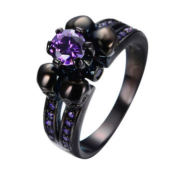 Purple Amethyst Skull Jewelry Women/Men Ring Anel Aneis Engagement Band Black Gold Filled Wedding Rings Halloween Gift RB0331