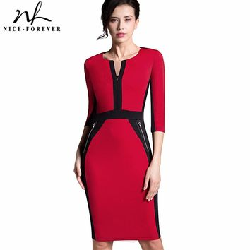 Nice-forever Office Women Zipper special New Arrival Plus Size fashion patchwork V neck formal work bodycon Midi dress 837