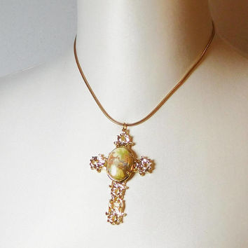 Cameo Cross Pendant, Chain Necklace, Large Cross, Gold Tone, Signed, Elizabeth Morrey Chain, Cross Pendant, Being Serenaded
