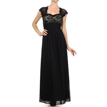 Sweetheart Neck Lace Bodice Black Nude Floor Length Dress