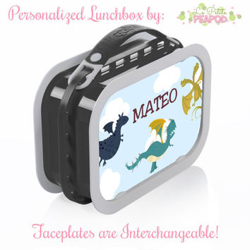 Dragon Lunchbox - Personalized Lunchbox with Interchangeable Faceplates - Double-Sided Dragons Lunchbox