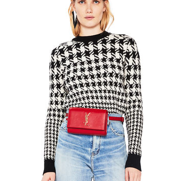 Saint Laurent Mixed Houndstooth Jacquard Sweater in Black & Natural | FWRD