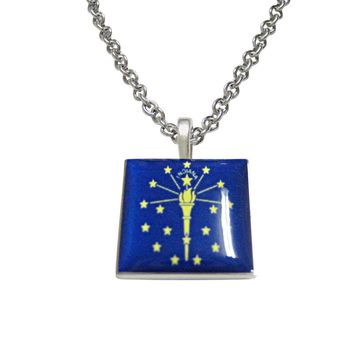 Indiana State Flag Pendant Necklace