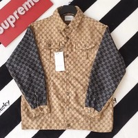 GUCCI Fashion Women Men GG Jacquard Personality Stitching Color Cardigan Sweatshirt Jacket Coat