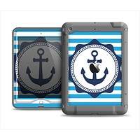 The Vector Navy Anchor with Blue Stripes Apple iPad Mini LifeProof Nuud Case Skin Set