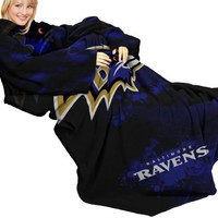 "NFL Baltimore Ravens Comfy Throw, Blanket with Sleeves, ""Smoke"" Design"
