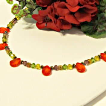 Autumn Colors in Crystal Necklace - Fall Trends - Orange, Red, Green, Brown, Gold, Purple