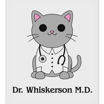 "Dr Whiskerson MD - Cute Cat Design 9 x 10.5"" Rectangular Static Wall Cling by TooLoud"