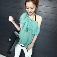 Delicate Single Shoulder All-match Shirt Green