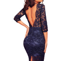 Navy Blue Lace Padded Bust V Back Party Dress