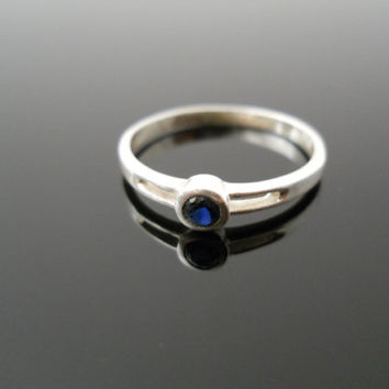 Sapphire Ring, Silver Ring, Size 6 Ring, Small Band Ring, Sterling Ring, Blue Stone Ring, 925 Ring, 925 Sapphire Ring, Thin Band Ring