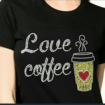 Women's Love Coffee Bling Rhinestones T-Shirt""