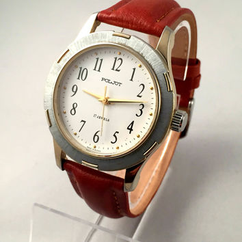 "Vintage Chunky Soviet Men's  wristwatch ""FLIGHT""-(Poljot),17 jewels mechanical watch. Comes with New Leather band!"