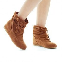 Casual Women's Short Boots With Flat Heel Round Head Tassels Design