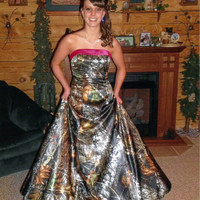 Camo Satin Formal Gown Floor Length with Corset back