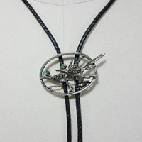 Vintage Silver Toned Road Runner Bolo Tie Accessory Necklace