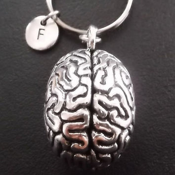 Anatomical Brain, human brain, 3D keyring, keychain, bag charm, purse charm, monogram personalized item No.328