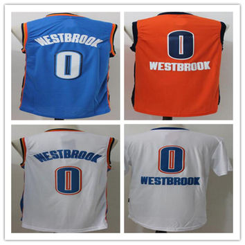 New Men's Stitched #0 Russell Westbrook Orange/White/Blue/White Short Stripe Replica Basketball Jerseys Free Drop Shipping