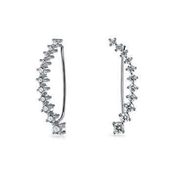 Curved Wire Ear Pin Climbers Earrings Graduated CZ Sterling Silver