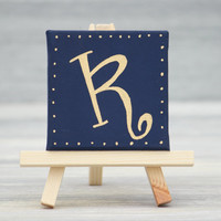 "Navy with Gold Initial on Mini Canvas with Easel / Personalized Gifts / Navy Wedding Favors / 3"" x 3"" Canvas"