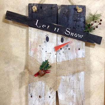 Let it Snow Rustic Whitewashed Burlap Snowman Wall Hanging Decor Made from Repurposed Pallet Wood Winter Christmas Holiday Decorations