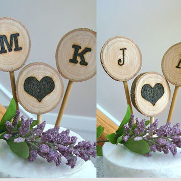 Rustic Wedding Cake Topper One Set Customized Initials Wood Burned