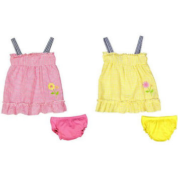 Baby Girl Seersucker Dress with Panty - Plaid with Flower