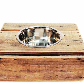 Elevated Vintage Wood Crate Dog Feeder.  No. 2.
