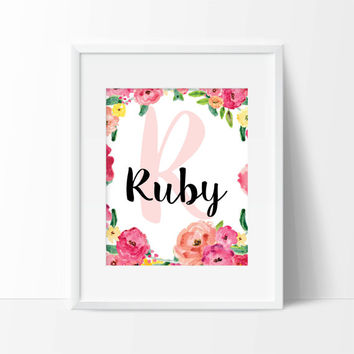 Flowers Personalized Art Print - Girls Wall Art - Nursery Art - Children's Wall Art - Name Initial Art - Personalized Kids Art