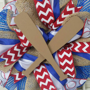 Baseball Nursery Baby Welcome Wreath Red Royal Blue Baseball Baby Shower Baseball Decor Baseball Bat Wreath Baseball Nursery Decor Boy Baby