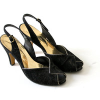 Vintage 70s Doing 30s Black Suede Slingback Open Toe Shoes / Animato
