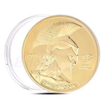 Gold Plated Titan Commemorative Coin BTC Bitcoin Collectible Collection Physical A46288